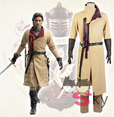Free shipping Hot TV Game of Thrones Kingslayer Ser Jaime Lannister Outfit Cosplay Costume