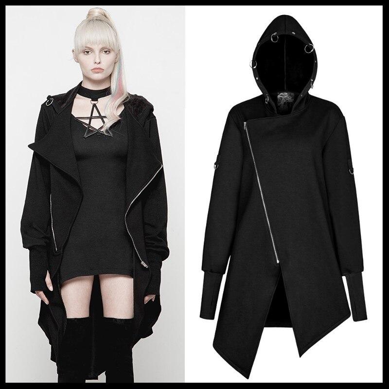 Women Punk Mysterious Irregular Hem Coat Fashion Gothic Female Hooded Black   Trench   Coat Streetwear Punk Cardigan