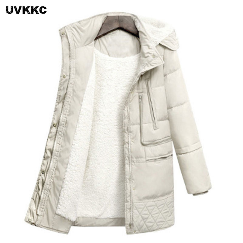 UVKKC 2017 Autumn And Winter Women Coat Cotton Cashmere Hooded Jacket Thick Warm Long Zipper Pocket Windproof Women Outwear Coat