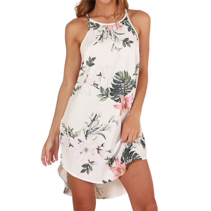 2019 Summer Sexy Off Shoulder Floral Print Chiffon Dress Boho Style Short Party Beach Dresses