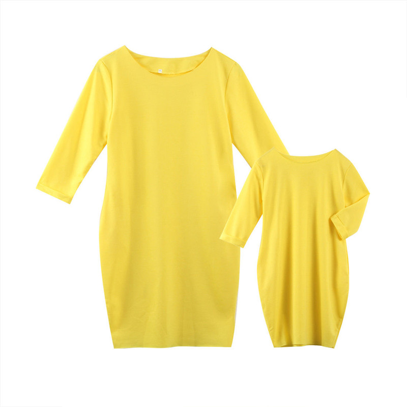 Mom Girl Dress Outfits Solid-Clothes Family Matching Casual Fashion Summer Bright Loose