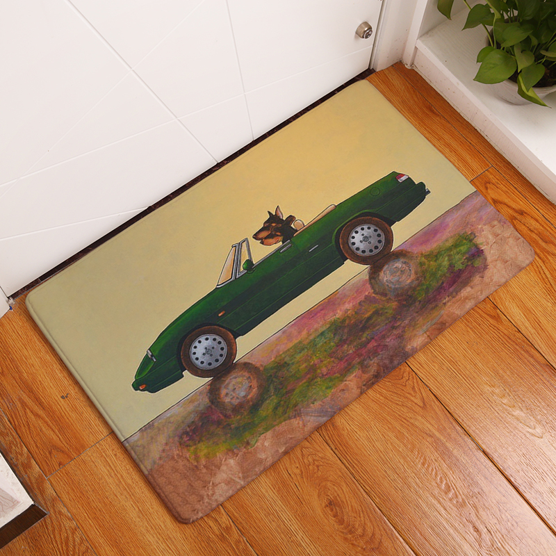 Homing Light Thin Durable Welcome Home Door Mats Crtoon Cool Red Car Dog Driver Carpets Durable Waterproof Kitchen Floor Carpet