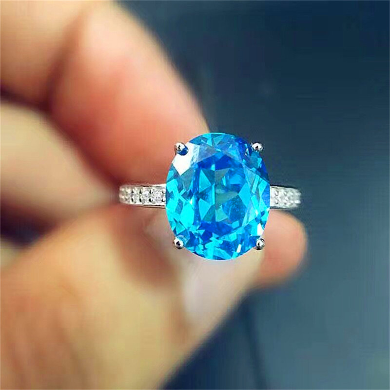 New Fashion London Blue Topaz ring real 925 Solid Sterling Silver natural light blue topaz trendy