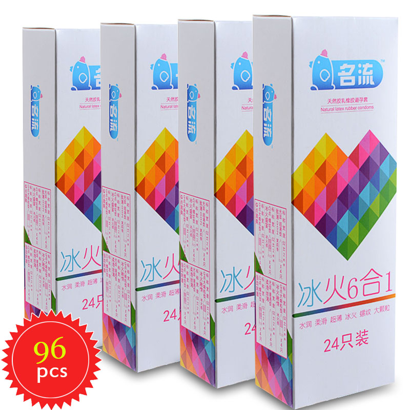MingLiu 96pcs/4boxes 6 Styles Warming Mint ice & Fire Silken Ultra-Thin Thread Particle Condoms Latex Rubber Delay Sex Product