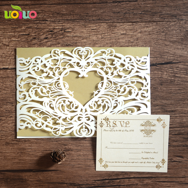 Wedding invitation cards laser cut heart shaped wedding invitation ...