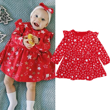 Rorychen 2018 New Autumn and Winter Baby Girls Long Sleeved Dress Baby Stars Princess Dress Toddler Dress Baby Christmas Clothes