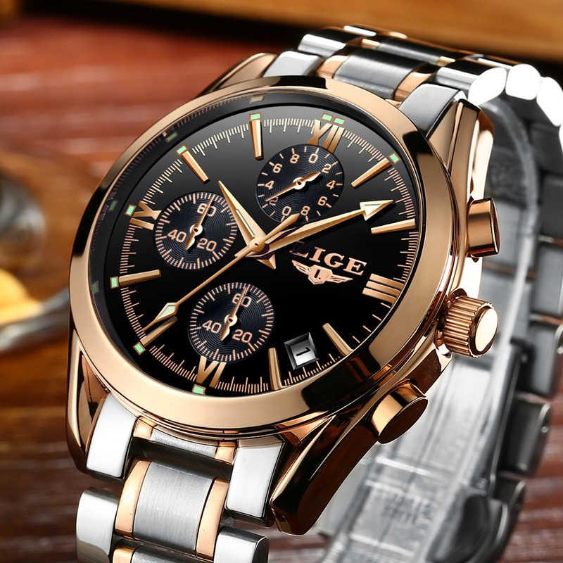 LIGE деловые мужские часы лучший бренд класса люкс кварцевые спортивные часы водонепроницаемые японские Модные Военные мужские часы Relogio Masculino