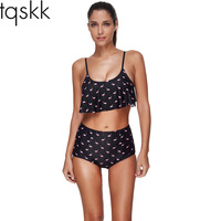 TQSKK 2017 New High Waist Swimsuit Women Bikinis Female Swimwear Retro Bandeau Printed Bikini Set Bathing