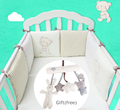 Infant Crib Bumper Bed Protector Baby Kids Cotton Cot Nursery bedding 6 pc plush bear bumper for boy and girl
