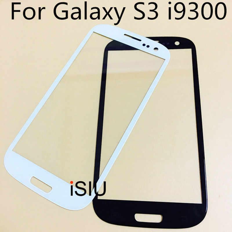 لمس الشاشة لسامسونج غالاكسي S3 i9300 GT-I9300 S3 البسيطة i8190 شاشة الكريستال السائل الزجاج الأمامي استبدال