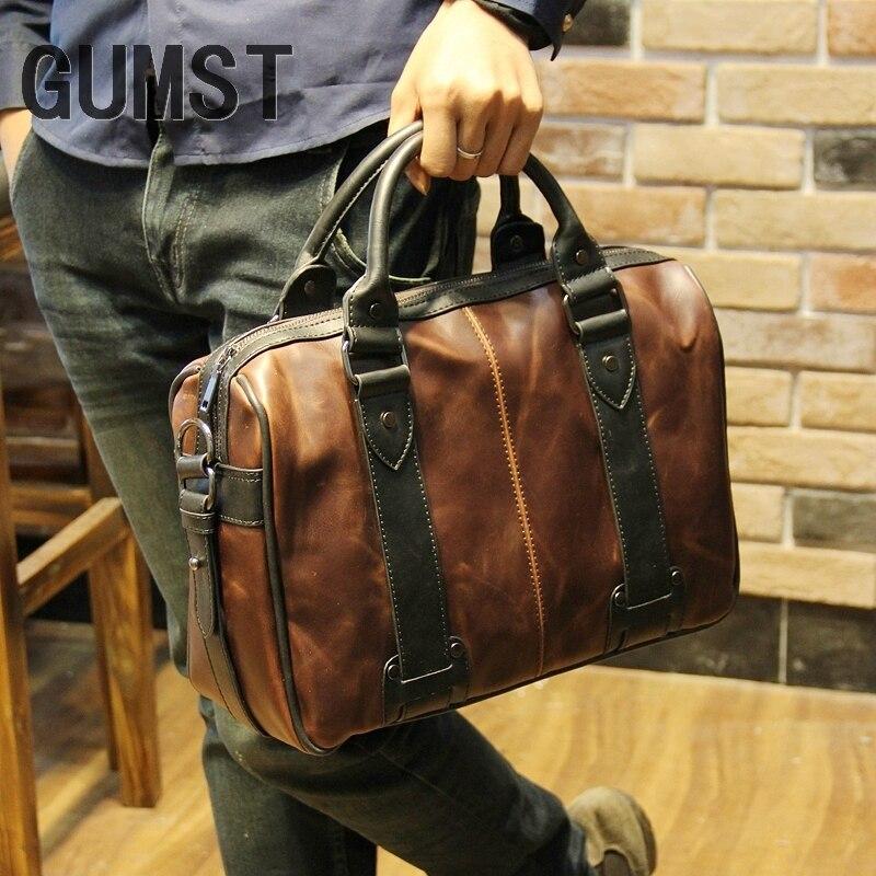 Sonnig Männer Tasche Crazy Horse Leder Männer Handtaschen Casual Business Schulter Tasche Aktentasche Messenger Taschen Laptop GroßE Auswahl;