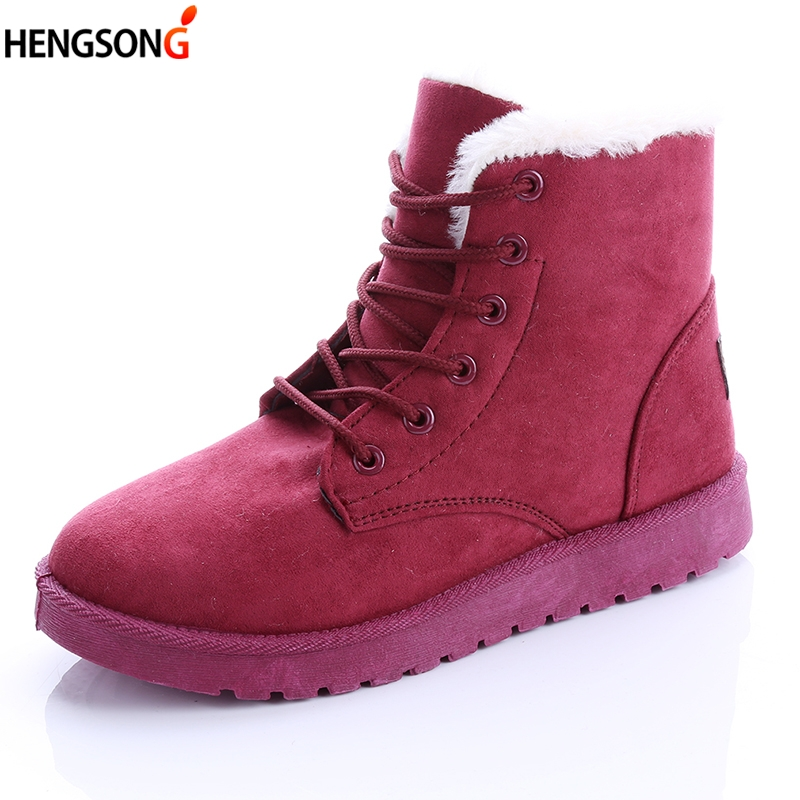 Classic Women Winter Boots Ankle Snow Boots Women Winter Warm Flock Boots Shoes Round Toe Lace-Up Flats Thick Fleece Botas Femme lin king hot sale women snow boots lace up flock solid high top ankle boots round toe thick sole low heel warm wintrer boots