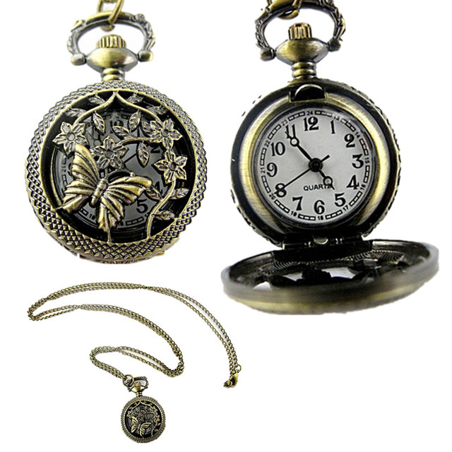 Womens Quartz Pocket Watch 1 PC Bronze Butterfly Flower Openwork Cover Vintage N