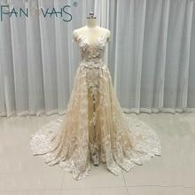 Vintage Wedding Gowns With Detachable Train Sexy See through Deep V Neck Bridal Gowns Champagne Vestido de Novia