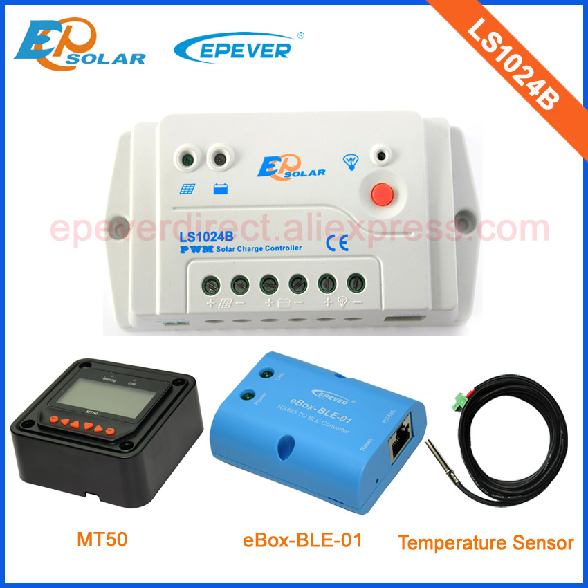 with MT50 remote meter EPsolarPWM LS1024B 10A 10amp solar controller BLE function and temperature senor with wifi function use epsolar pwm ls1024b 10a 10amp solar controller temperature senor 12v 24v auto work