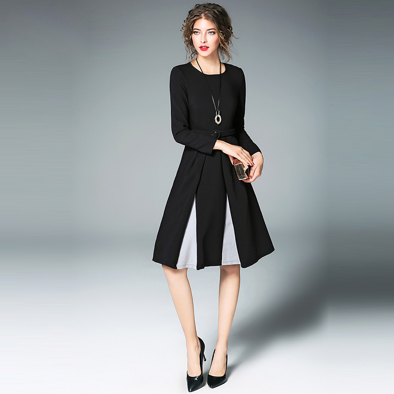 89252bcfec Willstage Women Little Black Dress With Belt Long Sleeve Pleated A-line  Elegant Party Dresses OL office lady 2018 Spring Vestido