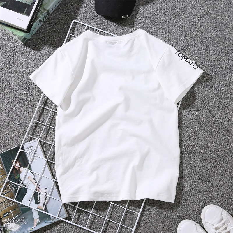 Couples Lovers T-Shirt for Women Love Heart Embroidery Print T-Shirt Female 23