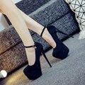 Wild sexy discoteca 14 cm tacones altos femeninos de La nueva multa con hebilla zapatos