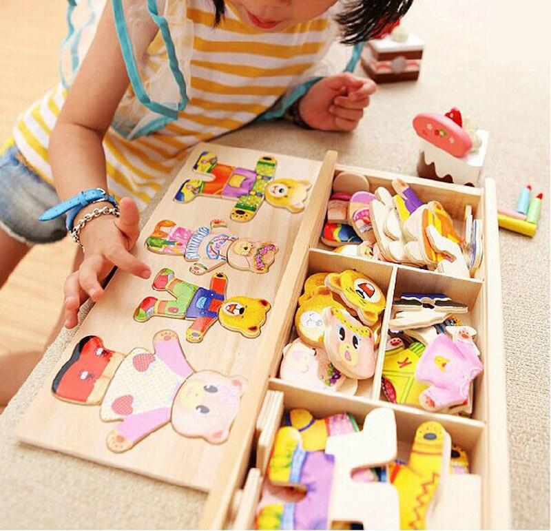 Pouca mudança urso roupas das Crianças educação infantil De Madeira puzzle jogo de Vestir Puzzle De Madeira Do Bebê brinquedos frete grátis