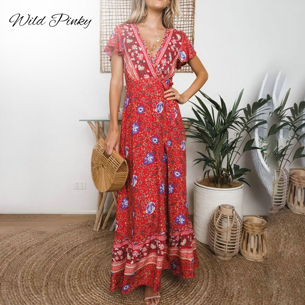New Long Summer Floral Maxi Dress Women Floral Print Casual Split Beach Dress Ladies Elegant Cotton Vintage Boho Party Dresses in Dresses from Women 39 s Clothing
