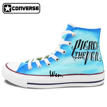 Men Women Sneakers Converse Pierce the Veil Design Hand Painted Shoes High Top Blue Canvas Sneakers Skateboarding Shoes