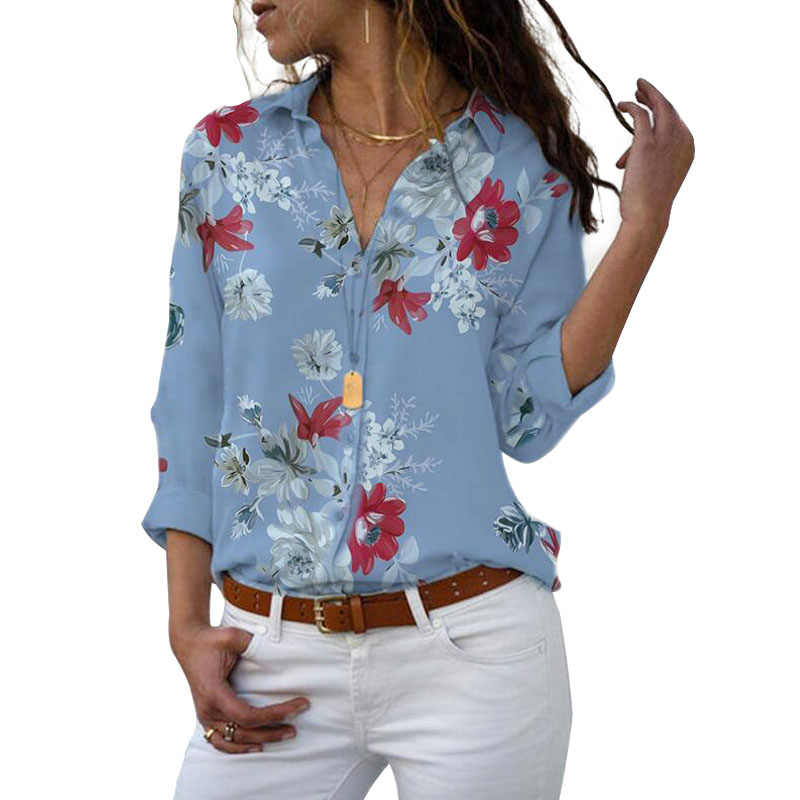 Uzun kollu kadın bluzlar 2019 artı boyutu turn-aşağı yaka bluz gömlek Casual Tops zarif iş elbisesi şifon gömlek 5XL