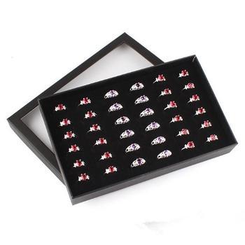 New Transparent 36 Slots Ring Display Holder Earring Jewelry Storage Box Organizer