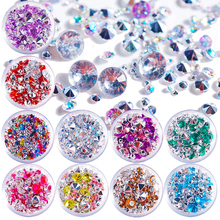 T-TIAO CLUB Mixed Color Size Colorful Nail Rhinestone 1 Box AB Crystal Glass DIY 3D Art Tips Decorations Manicure tools