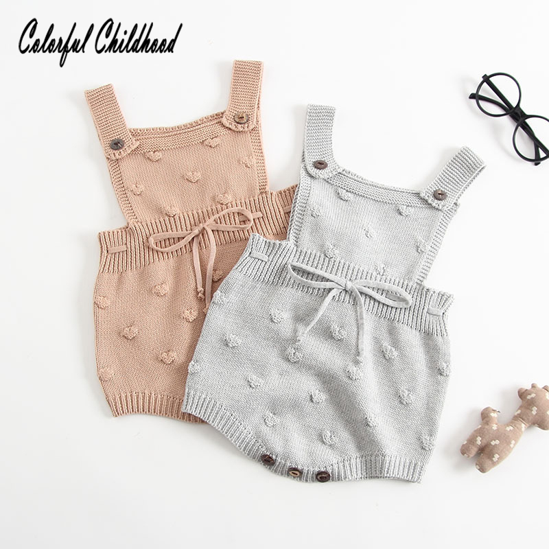 Cute Embroidery Heart Romper Baby Cotton Knitted Strap