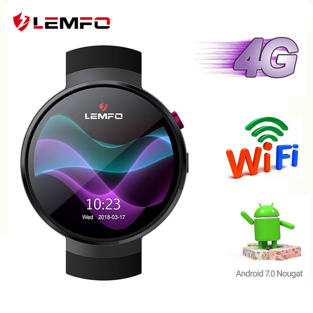 LEMFO LEM7 4g Android 7.1 Astuto Della Vigilanza di Uomini 1 gb + 16 gb 2MP Macchina Fotografica di GPS WIFI 580 mah grande Batteria 1.39 pollice AMOLED Screen Smartwatch
