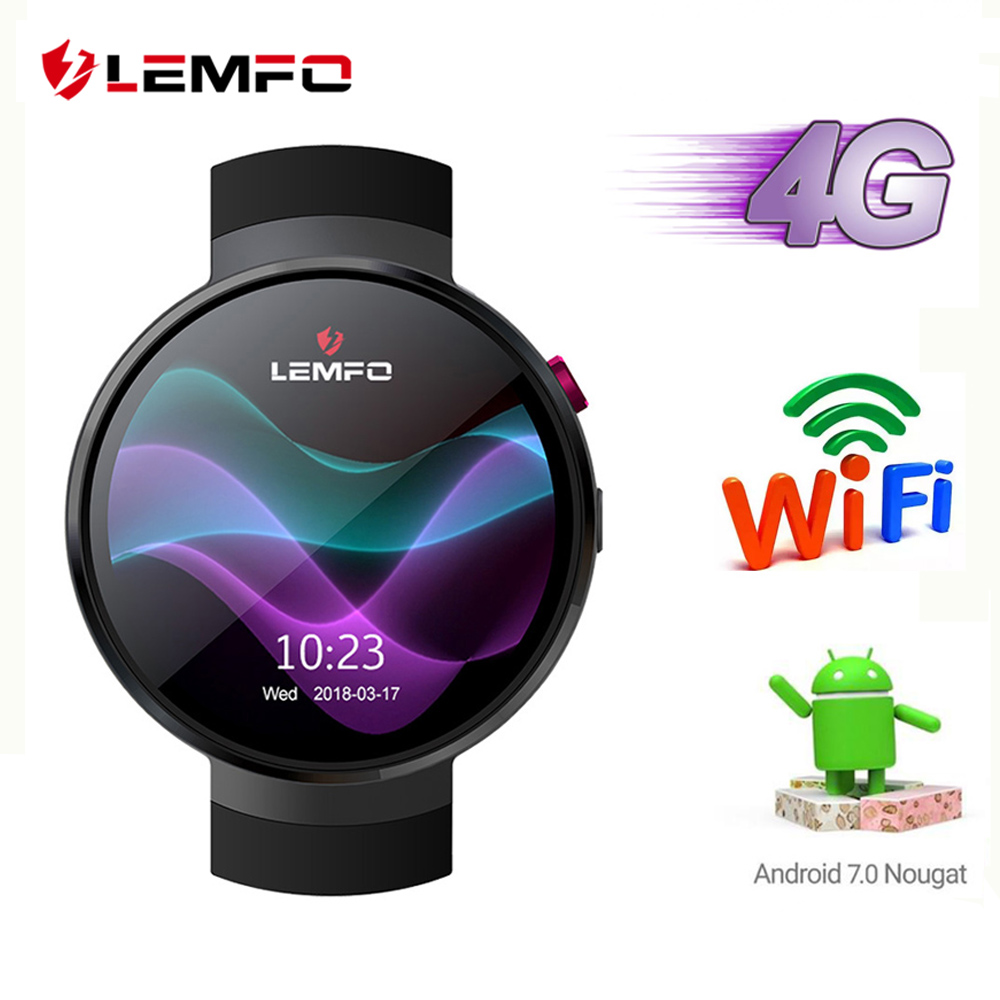 LEMFO LEM7 4g Android 7.1 Relógio Inteligente Homens 1 gb + 16 gb 2MP Câmera GPS WIFI 580 mah grande Bateria 1.39 Polegada Smartwatch Tela AMOLED