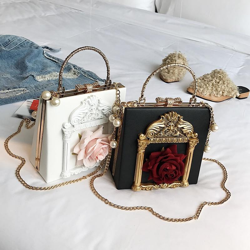 2018 NEW Rose 3D Palace Sculpture Frame Bag Luxury Handbags Women Party Bags Designer Lady Cute Shoulder Messenger Bag Sac Tote 6