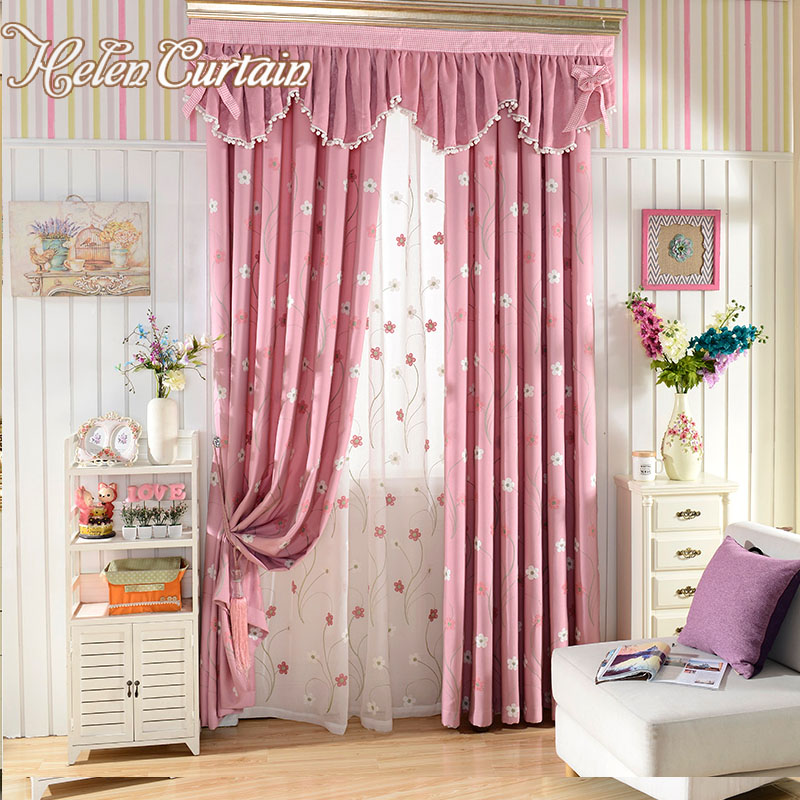 ᗕHelen Curtain Pink Embroidered Flower Children Living Room ...