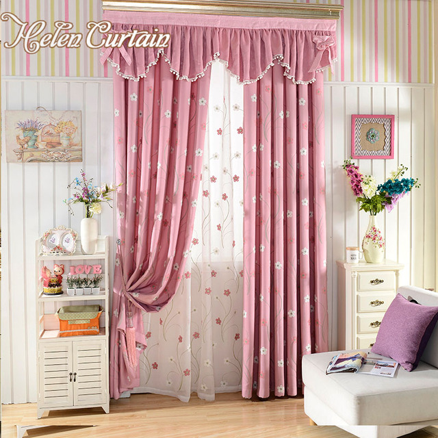 Curtains With Valance For Living Room Crown Molding Designs Rooms Helen Curtain Pink Embroidered Flower Children Girls Bedroom Tulle Window Treatments C 008