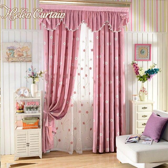 Online Shop Helen Curtain Pink Embroidered Flower Children Living ...