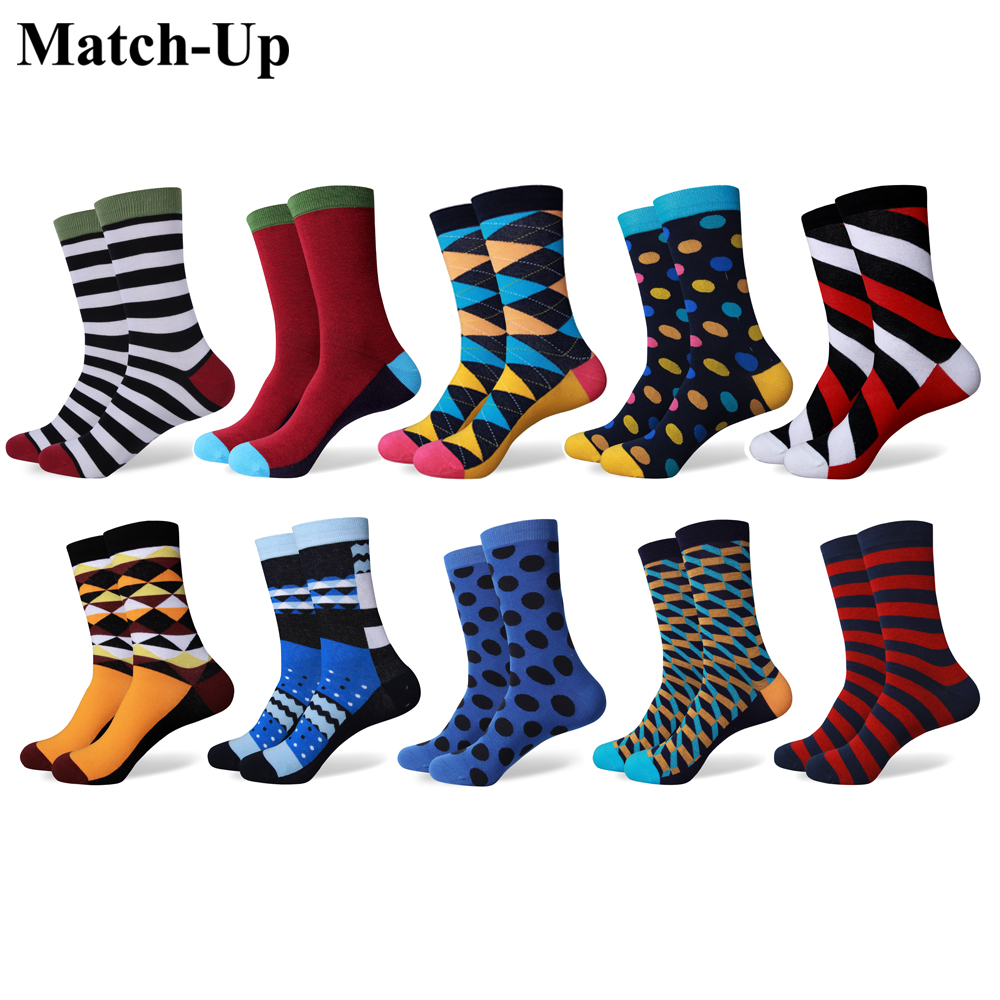 Match Up Men s Mixed colors with colorful fun socks combed cotton socks 10 Pairs lot