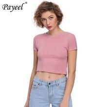 Casual Solid Crop Top Round Neck Vogue T Shirt Women Summer Tee Shirt Basic Tshirt Femme 2019 Short Sleeve Woman Street Tshirts все цены