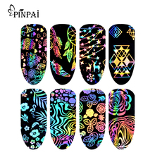 8 PCS Nail Art Colorful Dazzling Starry Transfer Sticker Manicure Art Transfer Sticker Paper Decorations Nails Art Sticker