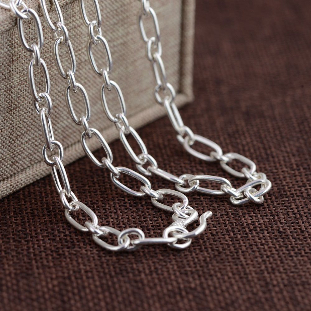925 chaîne à maillons en argent collier pour femmes accessoires largeur 5mm 50 cm à 80 cm S925 Thai solide argent fabrication de bijoux colliers - 2
