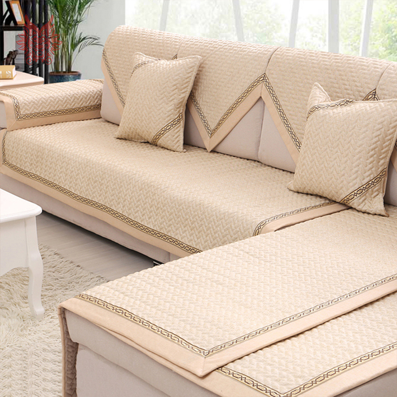 Modern style beige quilted sofa cover 100linen breathable for Quilted sectional sofa cover