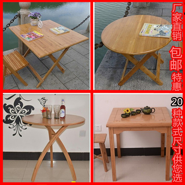 Bamboo Wood Folding Table Combination Roundtable Small Dining Table And  Chairs Child Retractable Wooden Long Table Oi Shipping