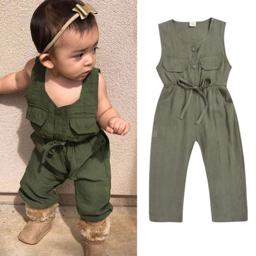 Toddler Kids Baby Girls Summer Sleeveless Overalls Jumpsuits