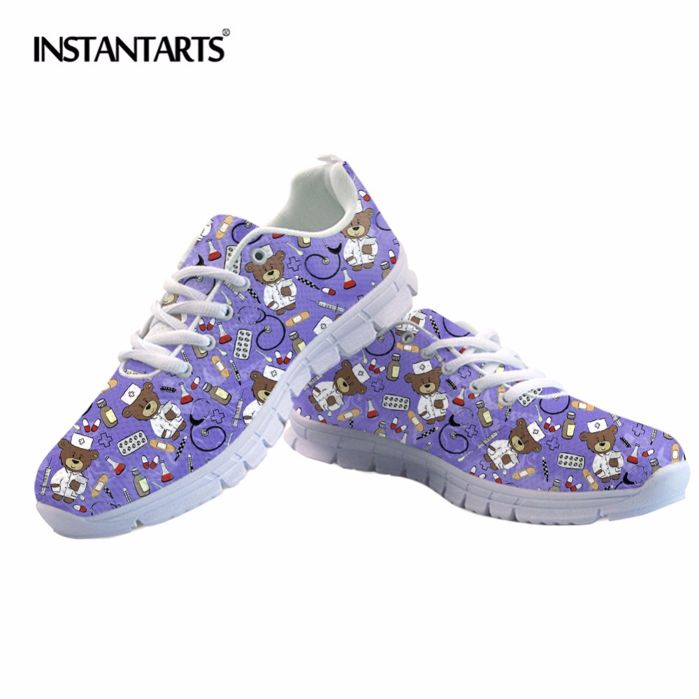 INSTANTARTS Cartoon Bear Nurse Sneakers Purple Women Casual Shoes Air Mesh Girls Ladies Flats Woman Tenis Feminino Zapatos Mujer instantarts pink sneakers women casual flats cute cartoon pediatrics bear doctor nurse pattern lady air mesh laces up flat shoes