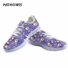 цены INSTANTARTS Cartoon Bear Nurse Sneakers Purple Women Casual Shoes Air Mesh Girls Ladies Flats Woman Tenis Feminino Zapatos Mujer