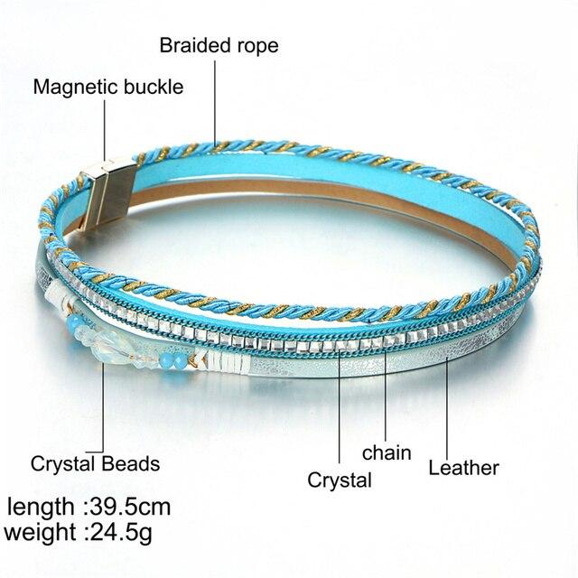 Купить женский кожаный браслет janeyacy многоуровневый с кристаллами