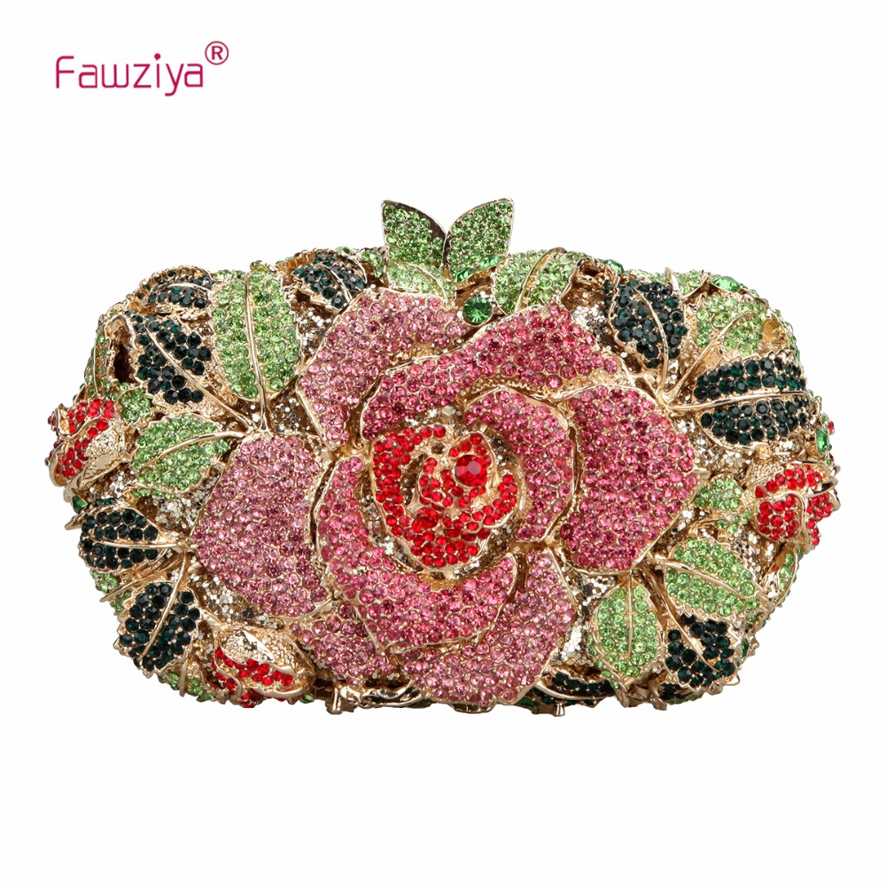 Fawziya Rhinestone Rose Clutch Purses And Handbags For Womens Bags fawziya fringe bag luxury rhinestone grape purses and handbags for womens clutch purse