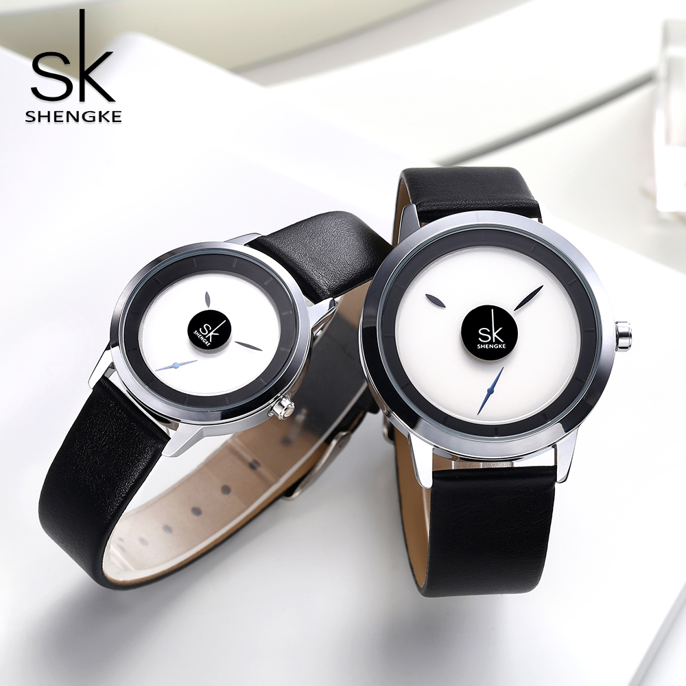 Shengke Women Watch Creative Design Ladies Casual Quartz Wrist Watch Rotate Dial Pointer Two Size Clock Montre Femme Reloj Mujer