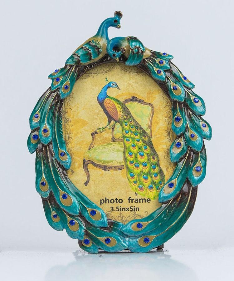 Hand Diamond European Pastoral Style Double Peacock Creative Shape Metal Oval Photo Frame