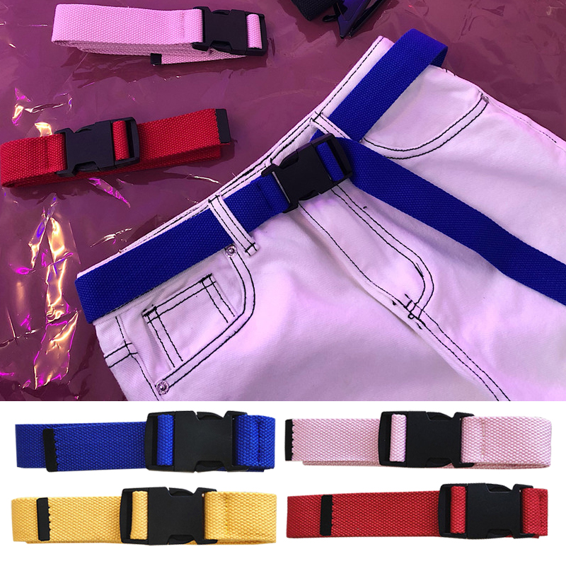 HTB1zrI2T9zqK1RjSZFpq6ykSXXaR - Adults Adjustable All-Match Belt Unisex Korean Style Canvas Belts Vintage Plastic Buckle Elastic Solid Color Long Waistband