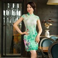 Light Green Elegant Chinese Women's Lace Cheongsam Hot Sale Traditional Style Mini Qipao Dress Size S M L XL XXL  342531